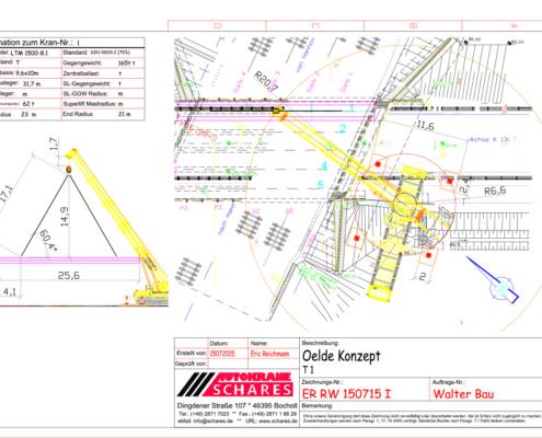 CAD Zugstudien, Brückenbau, Kran-Einsatz, Kran, Schares