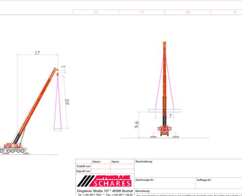 zugstudien, Traglastnachweise, CAD, Computer Aided Design, Kran-Einsatz Schares