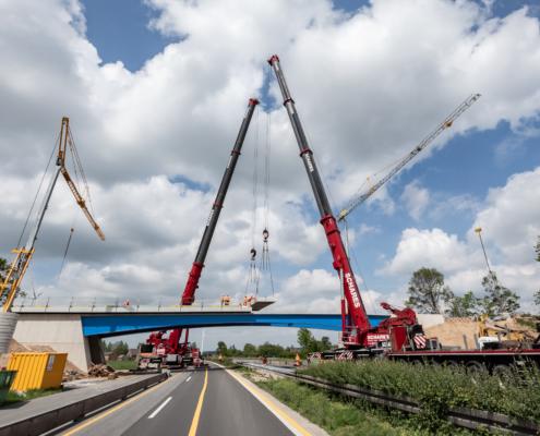 Autokrane Schares Brückenbau Einsatz zwei LTM 1500 Emmerich Krane Liebherr 500 to