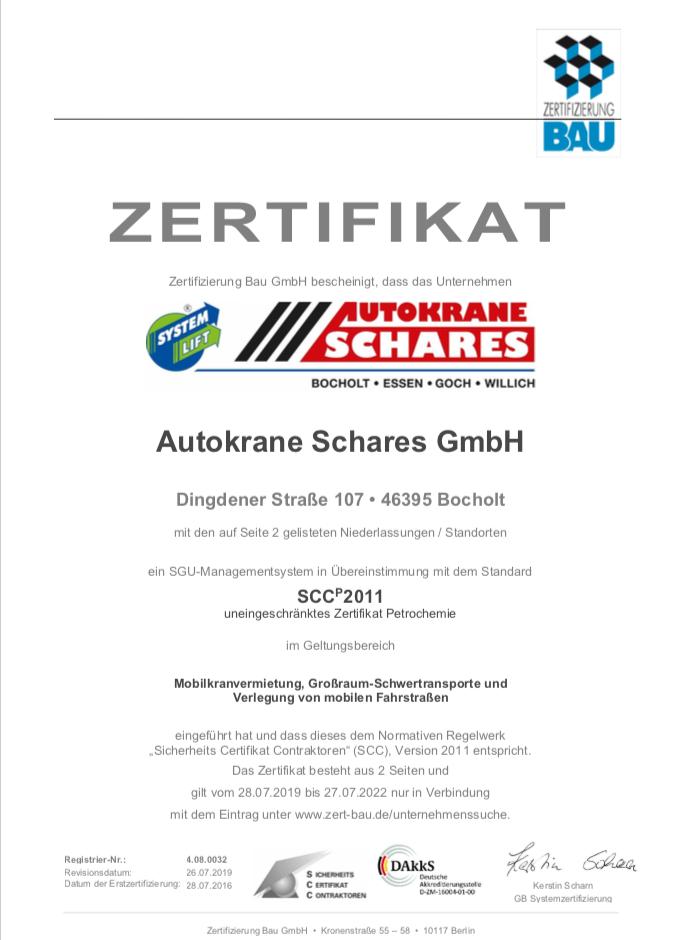 SCC Zertifikat Autokrane Schares