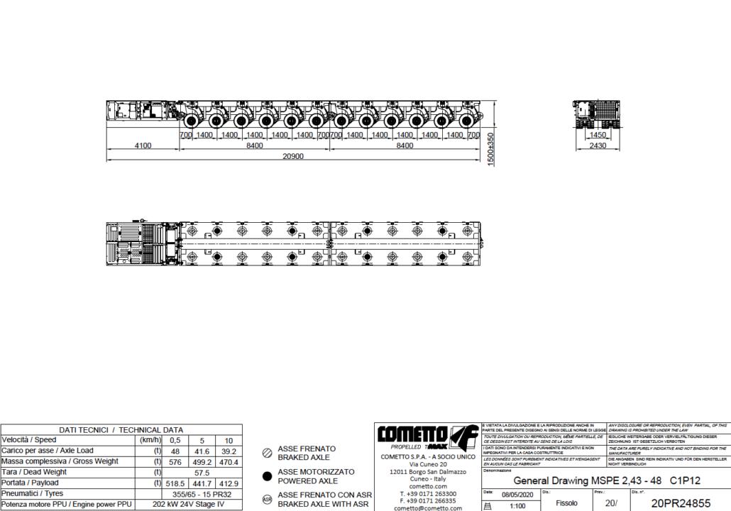 12 Achsen SPMT mit PPU, Autokrane Schares, Cometto